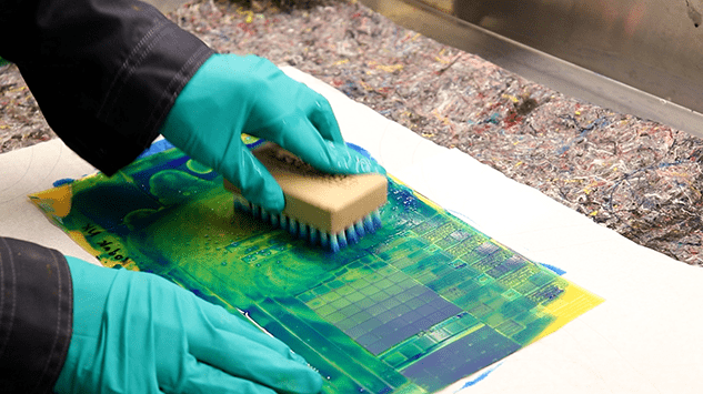 Nylon brush for plate cleaning