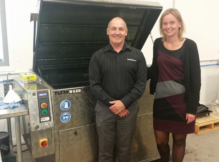 Gary Gibbon, Operations Manager Wedderburn, NZ, Mette Laursen, International Sales Manager, Flexo Wash